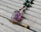 Rough Amethyst, Raw Gemstone, Ruby Zoisite, Long Boho Necklace, Long beaded Necklace Long Gemstone Necklace, Boho Beads, Purple, Green