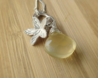 Leaf Necklace, Lemon Drop, Solitaire, Thai, Karen Silver, Hill Tribe Silver, Drop Necklace, Yellow, Lemon, Honey, Teardrop, Charm Necklace