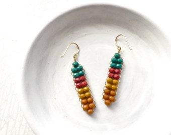 Boho Earrings / Woven Earrings / Beaded Dangle Earrings / Colorful Earring / Pendleton / Christmas Gift for Her / Made in Montana / Handmade