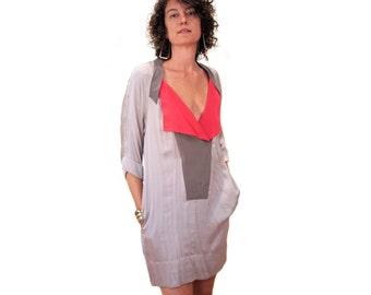 SALE! 90s Dress, BCBG Dress, Colorblock Tunic Dress S M, MOD Mini Dress, Gray Pink Silk Tunic, Avant Garde Designer Dress