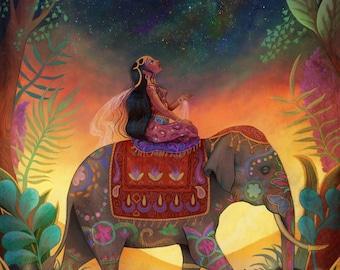 The Awestruck Princess 11X14 print - mindfulness art indian princess, elephant art print, inner strength, spiritual awakening - by Meluseena