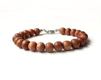 Bayong Wood Bead Bracelet - 8mm Beads - Wooden Ball Bracelet - Sterling Silver or 14k Gold Fill - Oil Diffuser Jewelry