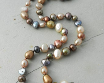 Blue, Bronze, Green, Cream, Taupe Hand Knotted Strand Necklace