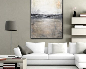 Framed Painting Large Abstract Art Original Painting Modern Contemporary Art Gray Black White  Abstract Oil Painting Urban Grunge Landscape