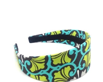 Wide Floral Headband - Charcoal Gray, White, Turquoise and Chartreuse Preppy 2 inch Headband - Girls Headband, Teen Headband, Adult Headband