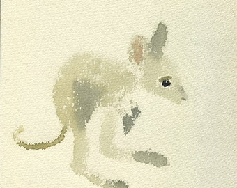 animals in child's dreams (kangaroo), watercolor card, nature prints