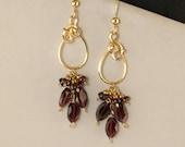 Garnet Gemstone Long Gold Earrings, Wine Red Garnet Unique Wire Wrapped Cluster Earrings, Red Garnet Chandelier Earrings