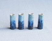 Four large macrame beads 10mm 12mm hole blue brown green tones glaze ceramic porcelain bubble texture