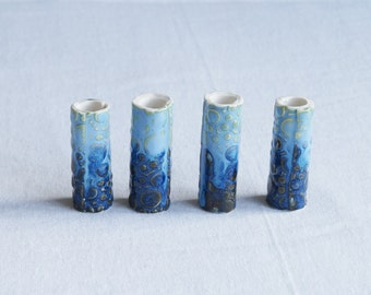 Four large macrame beads 10mm 12mm hole blue brown green tones glaze ceramic porcelain bubble texture