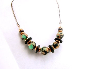 Aqua Green and Copper Beaded Necklace, Polymer Clay Jewelry