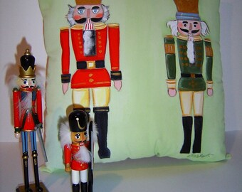 Christmas Nutcracker 14x14 Pillow Hand Painted Soldiers in Red & Green Festive Charming Holiday Pillow