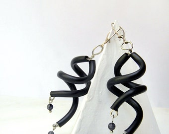 black earrings, minimalist geometric dangle rubber jewelry boho modern gyspy earrings spiral curls