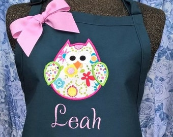 Personalized OWL Apron Kitchen Apron Women's Appliqued Apron