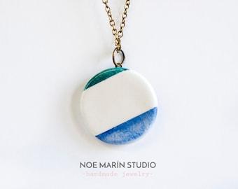 Ceramic necklace jewelry, ceramic pendant jewelry, geometric jewelry, fashion jewellery, Unique handmade ceramic necklace, Ceramics pottery