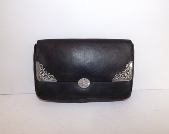 Antique early 1900s hallmarked silver mounted black leather large purse or small clutch bag handbag