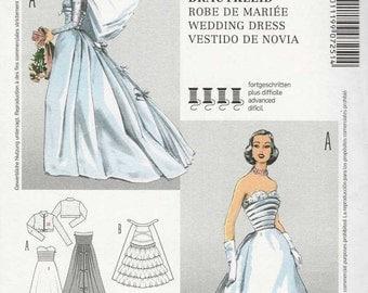 Burda 7251 Wedding gown floor length pleated shaped strapless bodice flowing skirt bustle crop jacket Size 10-12-14-16-18 (Uncut)