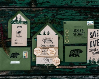 Woodland and Watercolor Bear Wedding Invitation:
