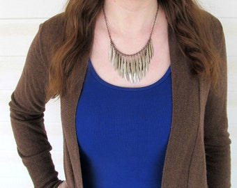Layered Silver Gunmetal Bib Necklace - Silver Feathers Swords Necklace - Zima
