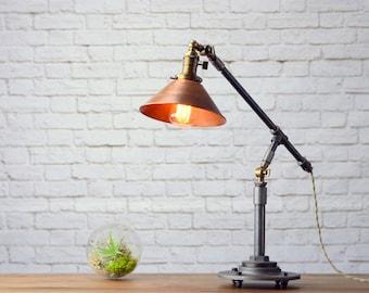 Industrial Table Lamp - Edison Desk Lamp - Copper Lamp - Pipe Lamp - Industrial Furniture