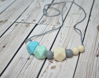 Silicone Teething Necklace - Silicone Chew Beads - Nursing Necklace - Mom Necklace Babywearing - Chewlery
