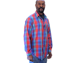 Vintage Plaid Shirt, Long Sleeve Shirt, Sero Shirtmakers, Sero Plaid Sport Shirt, Size L