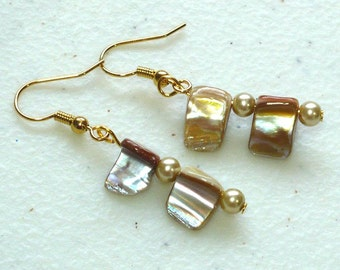 Camel Shell Drop Earrings - Women's Dangle Earrings, Natural Shell and Glass Beads, Nickle-Free Earwires, Handmade in the US, Ready to Ship