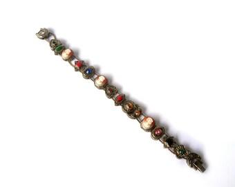 Vintage Slide Charm Bracelet  cameos hearts ovals triangles crescent moon shamrock