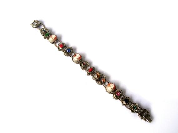 vintage slide charm bracelet cameos hearts by