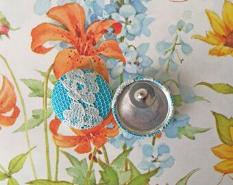 Vintage Inspired Earrings / Fabric Covered Buttons / Wholesale Jewelry / Aqua Lace / Stud Earrings / Gifts for Her / Bridesmaid Favors