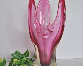Contemporary Art Glass Vase Freeform Triangular Cranberry Pink Hand Blown Art Glass Mid Century