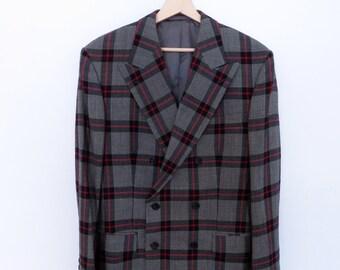 VINTAGE blazer jacket grey with black and red stripes