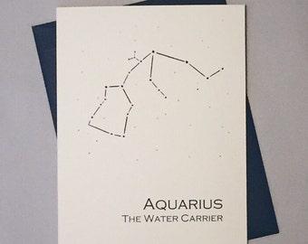 Aquarius Constellation Zodiac Sign Birthday Card / Horoscope / Astrology  Astronomy Card / January - February Birthday
