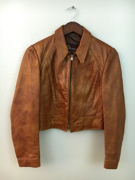 Vintage Cropped Leather Jacket - Size Small, Copper-Toned Genuine Leather Coat, Battalion Brand Rusty Brown Leather Jacket