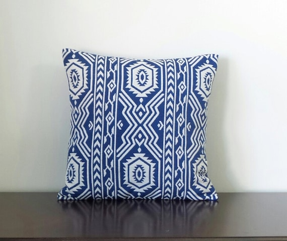 Blue Aztec Throw Pillows : Decorative Pillows Royal Blue Aztec Print Pillows Geometric