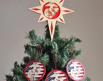 Christmas Tree Topper - Marine Corps Tree Topper - Christmas Decor - Tree Topper With EGA Painted Gold And Red - Christmas Topper
