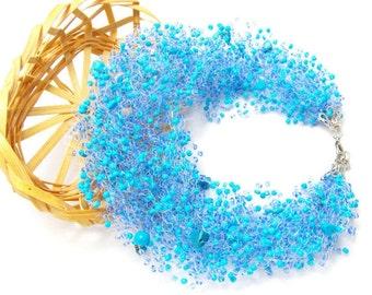 Nautical gift for aunts nautical jewelry Aqua Blue necklace mermaid jewelry something blue jewelry Beach jewelry Beaded Necklace sea jewelry