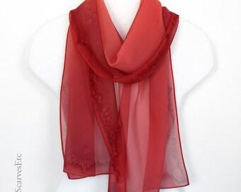Hand dyed silk chiffon scarf, Coral peach silk scarf, Hand painted silk chiffon, Abstract sheer scarf, Peach coral spring scarf, Mom's gift