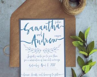 modern brush calligraphy printable wedding invitations, rustic wedding, rustic elegance barn wedding, twine, kraft paper, navy wedding