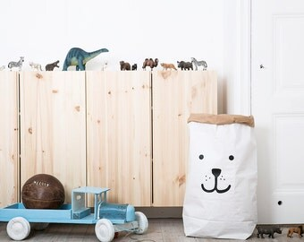 Bear paper bag storage of toys books or teddy bears - Kids interior