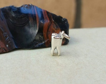 Sterling Silver Realistic Tooth Charm, Silver Tooth Charm, Tooth Fairy, Molar Charm, Spooky Charm, TWD,The Walking Dead Theme Charm Necklace