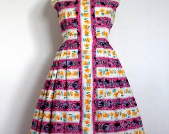 Fantastic 1950s striped flower dress cotton 50s vibrant colours pleated skirt sleeveless