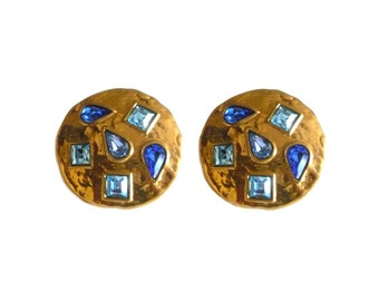 YVES SAINT LAURENT ~ Authentic Vintage Gold Plated Earrings With Blue Rhinestones