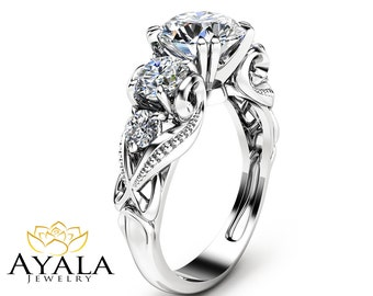 Five Stone Moissanite Engagement Ring with Natural Diamonds Unique Engagement Ring in 14K White Gold Forever Brilliant  Moissanite Ring