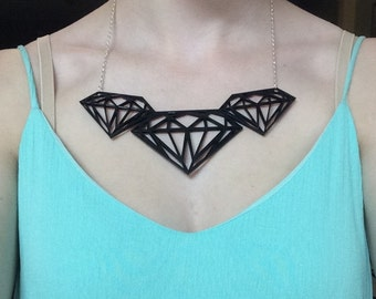 Diamond Laser-Cut Acrylic Necklace