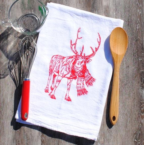 Christmas Tea Towel - Organic Cotton Flour Sack Towel - Kitchen Christmas Towel - Reindeer Towels - Winter Kitchen Linens