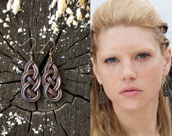 Celtic knot earrings vikings jewelry Lagertha cosplay larp brown earrings Siggy earrings terracotta Medieval new earrings Norse jewelry
