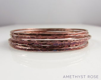 Set of 6 Copper Bangles ~ Hammered Copper Bangles ~ Stacking Bracelets ~ Unique Handmade Jewellery