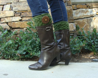 PATTERN #136:  Knit Cable Boot Cuffs with Coconut Button, Boot Cuff Pattern, Teen/Womans Incl 3 Sizes - PDF Digital File/Pattern