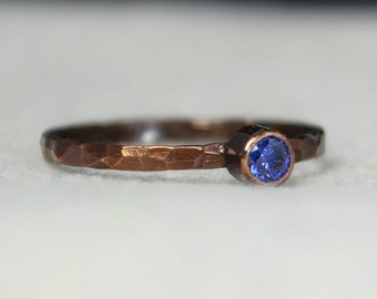 Bronze Copper Sapphire, Classic Size, Stackable Rings, Mothers Ring, September Birthstone, Copper Jewelry, Solitiare, Pure Copper, Band