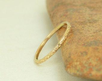 14k Gold Bohemian Ring, Rustic Wedding Ring, Heirloom Quality, Classic 14k Gold Ring, Gold Boho Ring, Rustic Gold Rings, Gold Band, G1